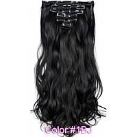 Накладне волосся на заколках термо Набір тресс 7 шт № 1Bk чорний м'який