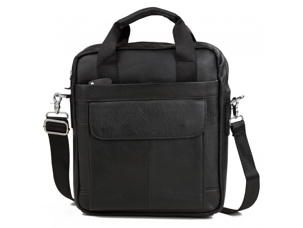 Чоловіча шкіряна сумка месенджер Tiding Bag чорного кольору.Сумка чоловіча шкіряна вертикальна під А4.