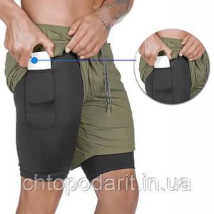 Спортивные шорты с карманом для телефона, мужские шорты-тайтсы олива с черными тайтсами размер XL Код 35-0073