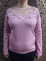 Нарядная женская  кофта с красивым оформлением горловины