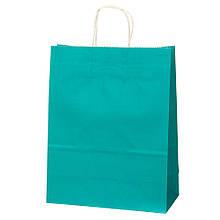 Крафтовый пакет, голубой  26*32*13