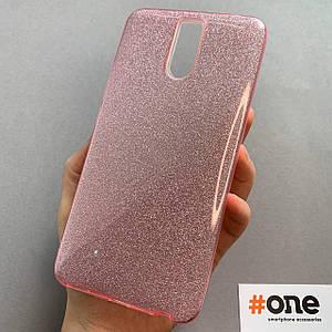 Чехол для Meizu M6 Note с блестками женский блестящий чехол на телефон мейзу м6 нот розовый GLT