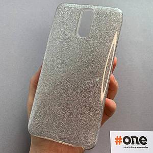 Чехол для Meizu M6 Note с блестками женский блестящий чехол на телефон мейзу м6 нот серебряный GLT
