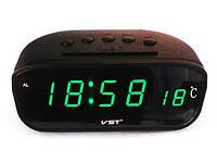 Часы электронные vst-803-4, настольные, сетевые, зеленый led-дисплей, будильник с отсрочкой сигнала
