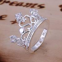 Кольцо Корона покрытие 925 серебро проба фианиты