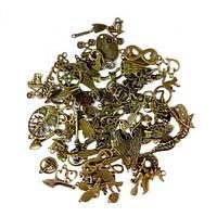 Набор из 100 металлических подвесок шармов шармиков, смешанные, бронза