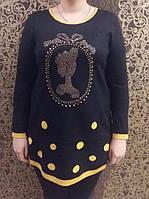 Женская туника  с рисунком выложенным стразами