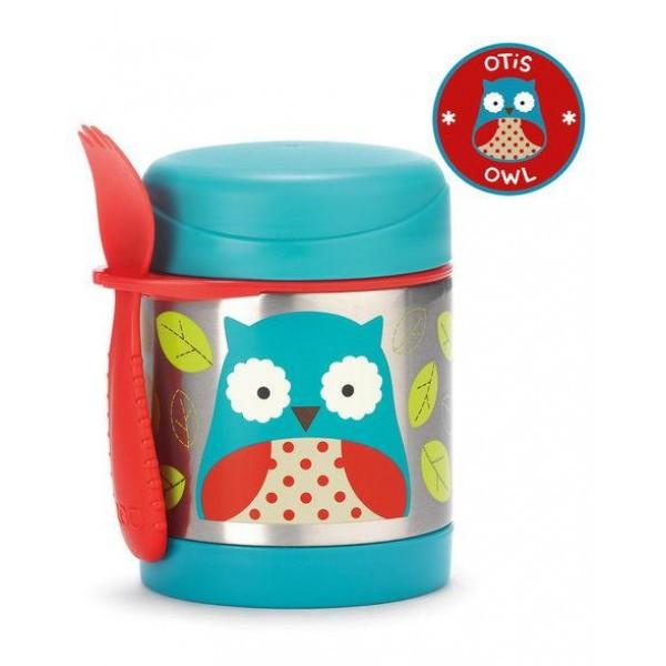 Термос для еды с ложкой-вилкой Skip Hop, 325 мл (Zoo Insulated Little Kid Food Jar) - Owl (Сова), 12м+