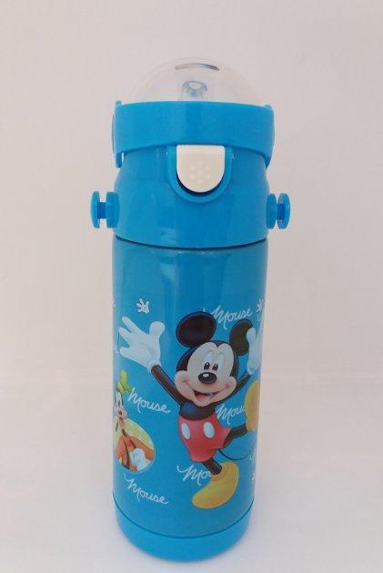 Детский термос для напитков и чая с трубочкой и с ремешком  zk g603  350ml  голубой бутылочка для воды