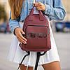 Стильный кожаный женский рюкзак. Бордовый, фото 4