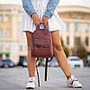 Стильный кожаный женский рюкзак. Бордовый, фото 7