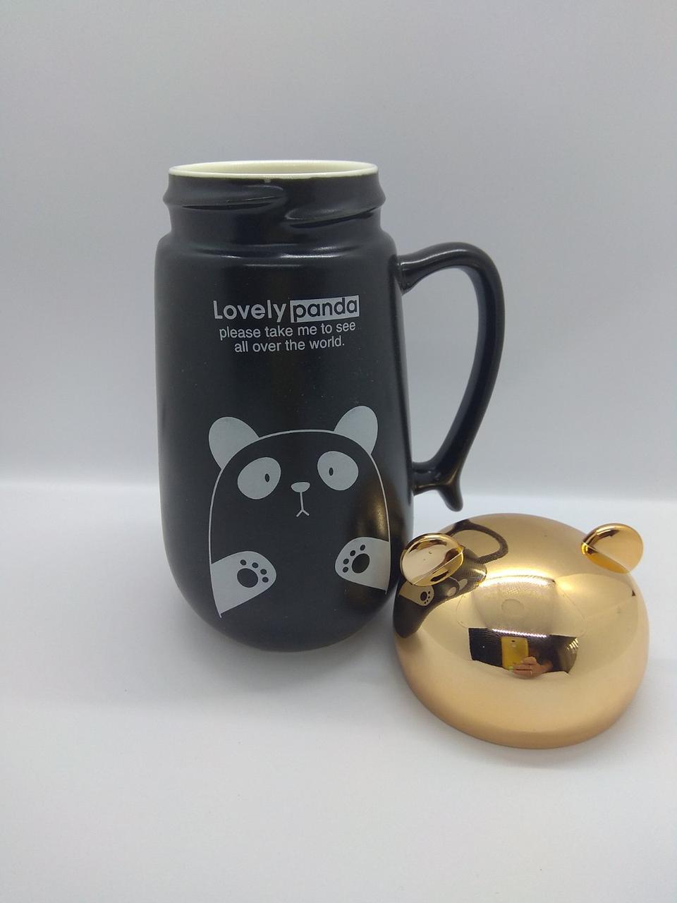 Чашка черная с зеркальной термокрышкой  Панда