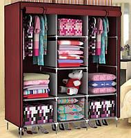 Мобильный тканевый раскладной шкаф для одежды 3 секции HCX Storage Wardrobe AM-88130 Бордовый