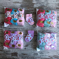 Шкарпетки дитячі махрові СЕРДЕЧКА для дівчинки від 0-1 року (12шт.уп.),кольори міксом