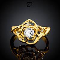 Кольцо Цветок циркон покрытие золотом 14К