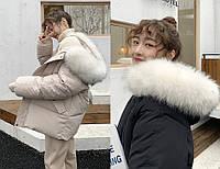 Молодіжна коротка зимова куртка з коміром з хутра, фото 1