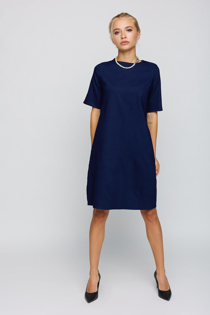 Женское летнее базовое темно-синее платье