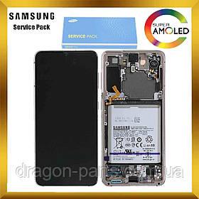 Дисплей Samsung G991 Galaxy S21 с сенсором Фиолетовый Phantom Violet оригинал, GH82-24718B