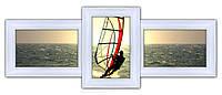 Деревянная мультирамка на 3 фото Полет, белый
