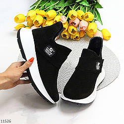 Замшевые черные женские полу спортивные женские ботинки замша на белой подошве