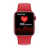 Смарт годинник Фітнес браслет трэккер Apl Watch Series 6 M16 PLUS пульсометром тонометром погода червоні + Подарунок, фото 2