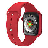 Смарт годинник Фітнес браслет трэккер Apl Watch Series 6 M16 PLUS пульсометром тонометром погода червоні + Подарунок, фото 6
