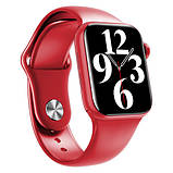 Смарт годинник Фітнес браслет трэккер Apl Watch Series 6 M16 PLUS пульсометром тонометром погода червоні + Подарунок, фото 7