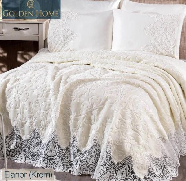 Шикарные покрывала на кровать двуспальную набор с постельным бельем, покрывала с кружевом 240х260 Крем Elanor