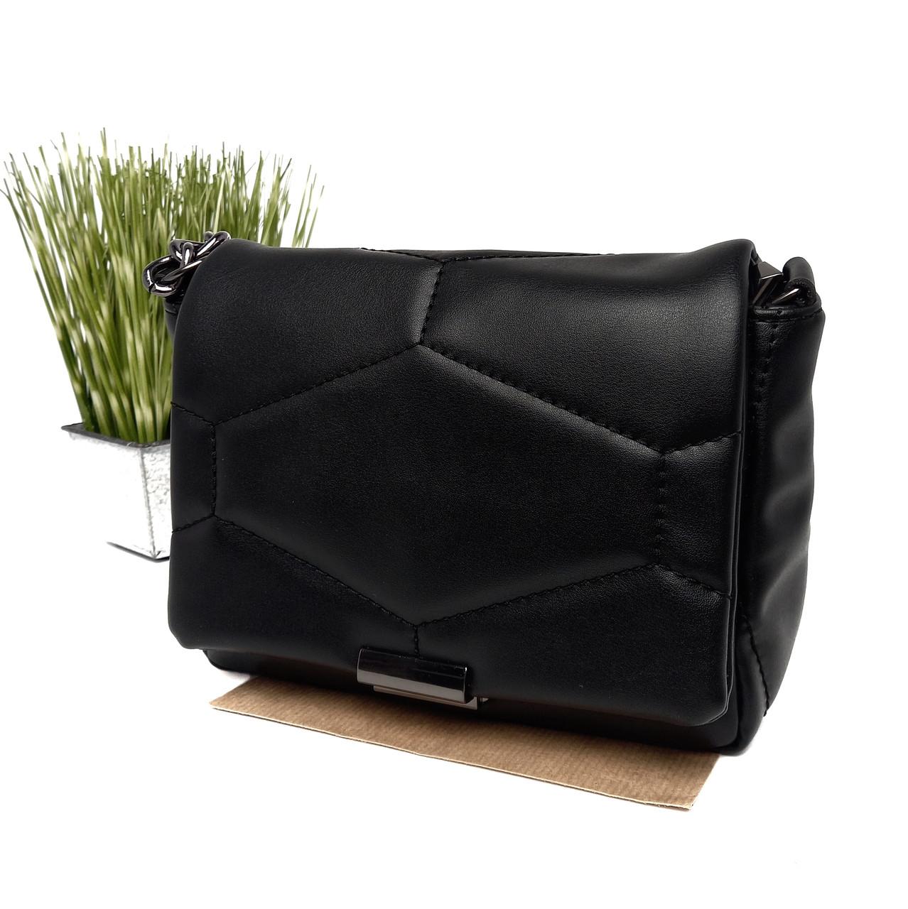 Маленькая женская сумка искусственная кожа черный Арт.90504 WeLassie (Україна)
