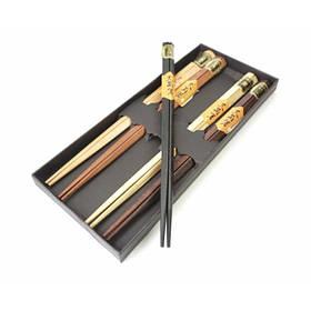 Палочки для еды треугольные деревянные ассорти 5 видов набор 5 пар ОРИГИНАЛ ॐ