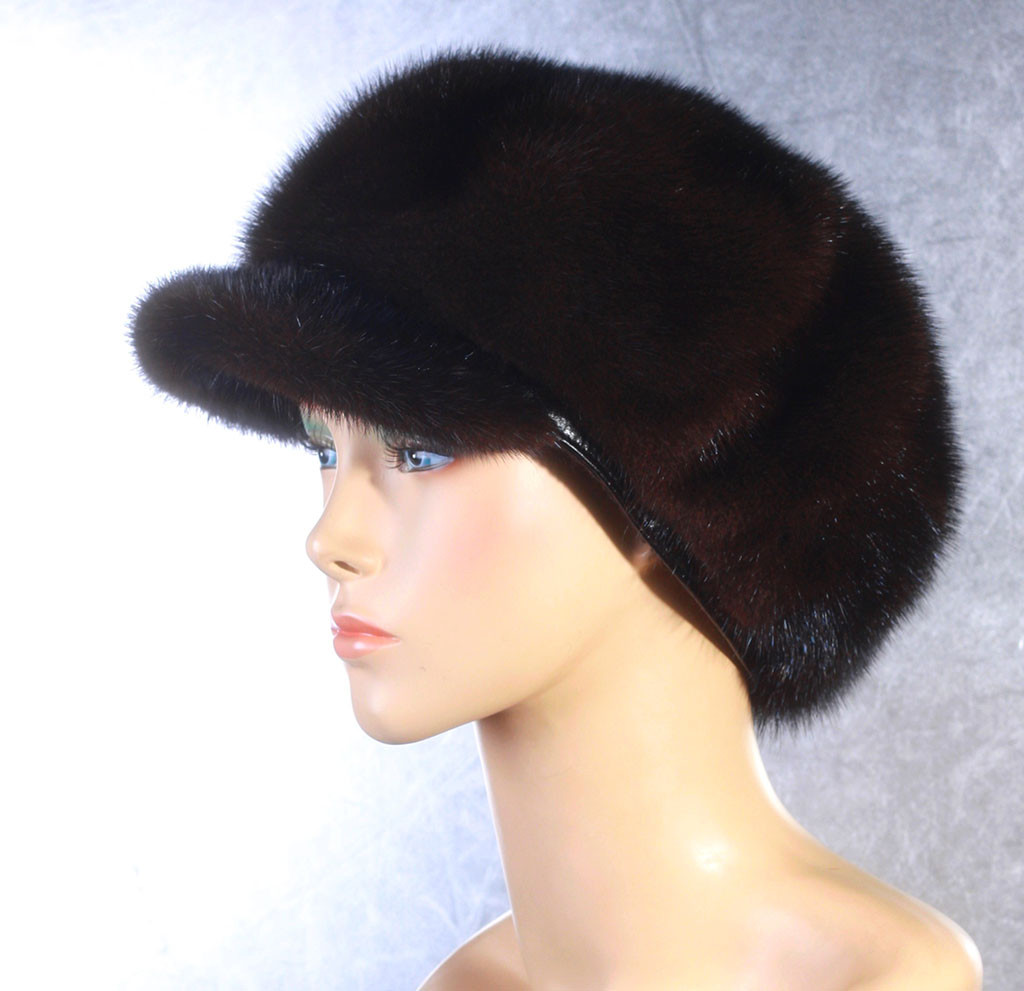 Женская меховая шапка Волна из норки