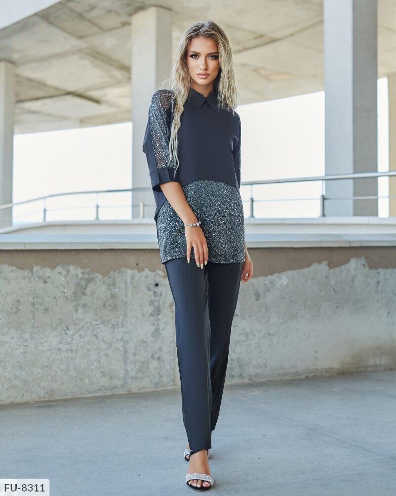 Брючний ошатний костюм жіночий з блузою з вставками з сітки р-ри 42-48 арт. с41270