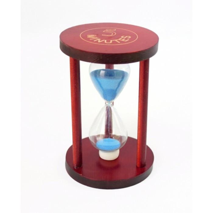 """Песочные часы """"Круг"""" стекло + тёмное дерево 5 минут Голубой песок ОРИГИНАЛ ॐ"""