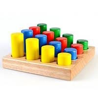 Деревянная игра Сортировщик с цветными цилиндрами Ду-42 Руди