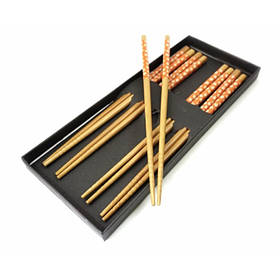 Палочки для еды бамбук с рисунком набор 5 пар №3 ОРИГИНАЛ ॐ