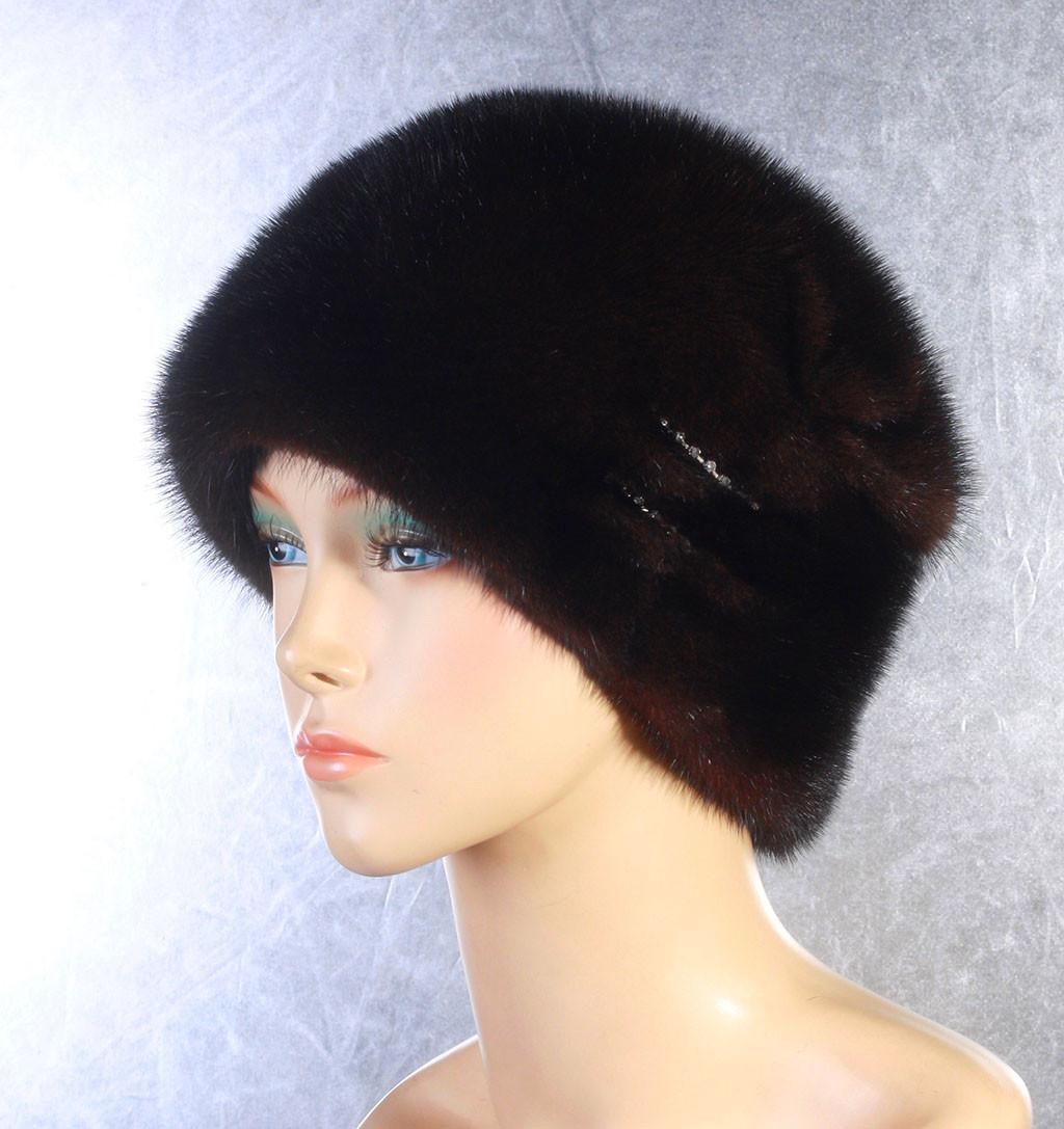 Женская меховая шапка Кошка из норки