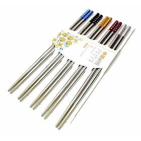 Палочки для еды стальные цветные в блистере набор 5 пар ОРИГИНАЛ ॐ