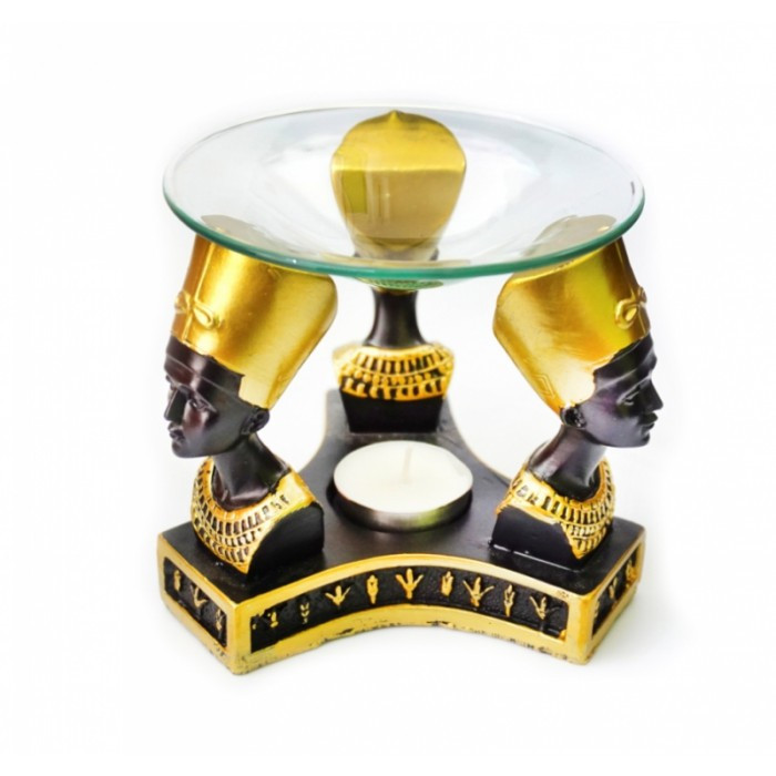 Аромалампа ТРИ НЕФЕРТИТИ (бюст) полистоун со стеклянной чашей ОРИГИНАЛ ॐ