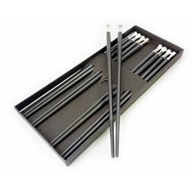 Палочки для еды эбонитовые с металлом набор 5 пар Белый металл ОРИГИНАЛ ॐ
