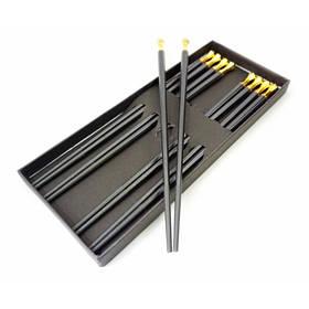 Палочки для еды эбонитовые с металлом набор 5 пар Желтый металл ОРИГИНАЛ ॐ