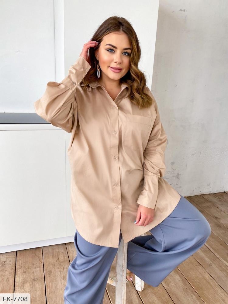 Стильна подовжена сорочка жіноча коттоновая вільного крою великі розміри батал 48-58 арт. А4162