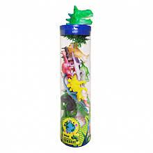 Набор пластиковых Животных 003-1-12 круглый бокс (Динозавры)