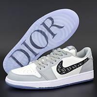 Мужские кроссовки Nike Air Jordan 1 Low x Dior, кожа, серый, белый, Вьетнам 45