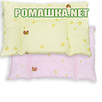 """Подушка """"нулевка"""" для новорожденного ПЧЕЛКА в кроватку, силикон, гипоаллергенная, верх 100% хлопок, 58х38 см"""
