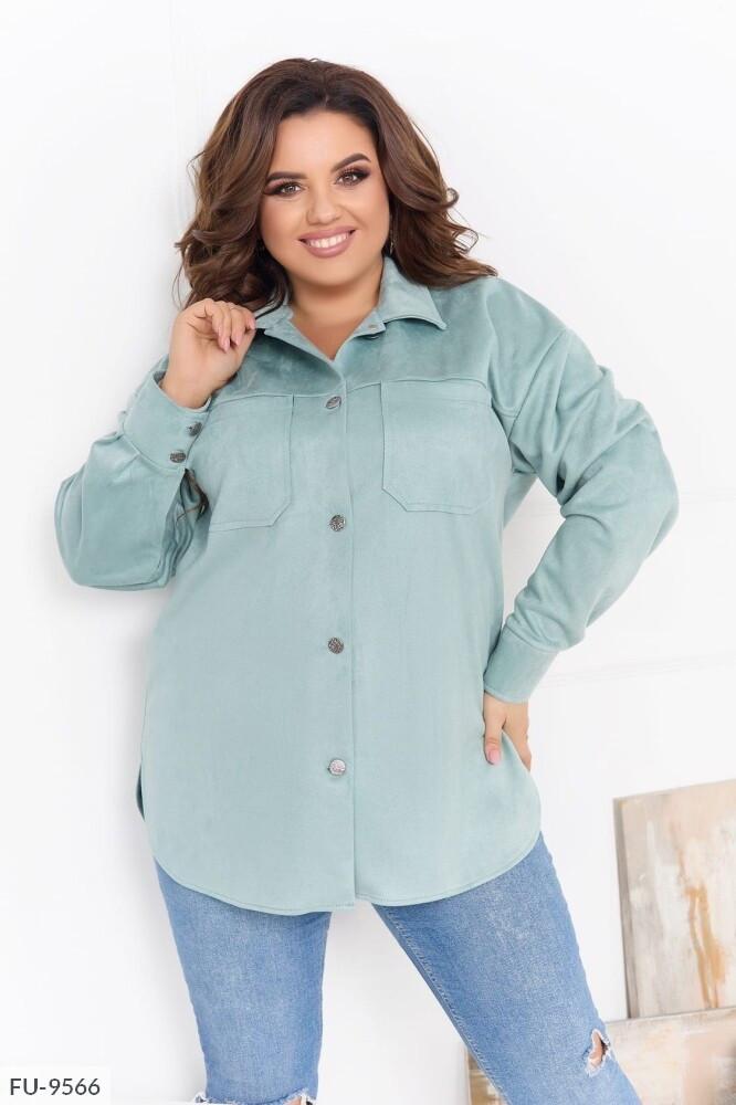 Замшева сорочка жіноча гарна тепла з довгим рукавом великих розмірів батал р-ри 52-58 арт. 2152