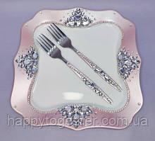 Набір для весільного торта рожевий