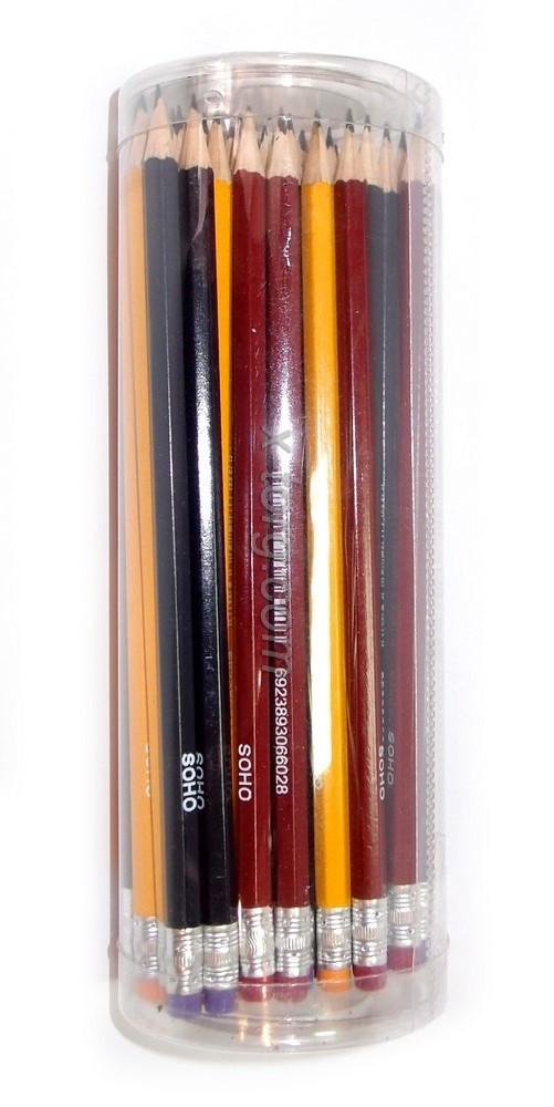 Карандаш графитный, HB шестигранный, с ластиком ассорти, Soho, SH-6602