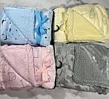Дитячий велюровий плед на овчині двосторонній теплий 110*140 см на вішалці Блакитного кольору для хлопчика, фото 5