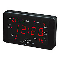 Настенные часы для дома и офиса vst-802w-1, красные, термометр, календарь, будильник, напоминания