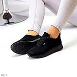 Стильные легкие черные замшевые женские кроссовки доступная цена, фото 2